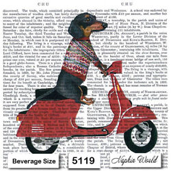Kyпить (5119) TWO Individual Paper BEVERAGE / COCKTAIL Decoupage Napkins  MOTORBIKE DOG на еВаy.соm