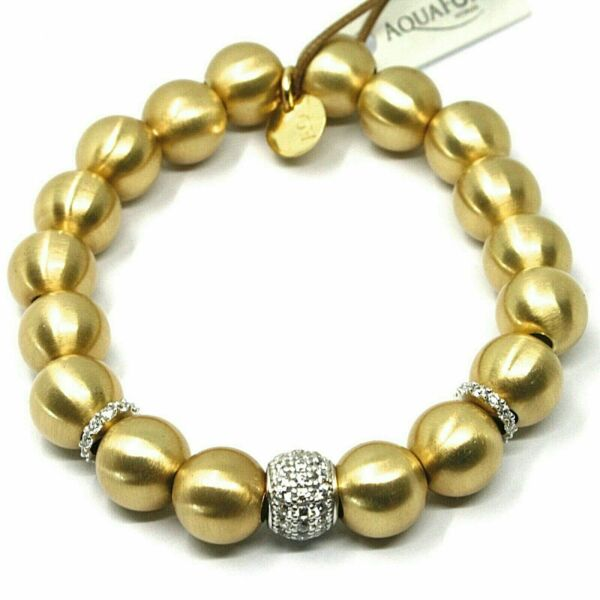 ItalienSilver  925 Elastic Laminated Yellow Gold With Spheres Made IN Italy