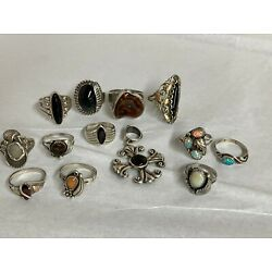 Kyпить 12 Sterling RINGS 1 PENDANT Onyx Colorful OPALS various stones на еВаy.соm