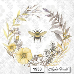 Kyпить (1938) TWO Individual Paper LUNCHEON Decoupage Napkins - BEE WREATH FLOWERS на еВаy.соm