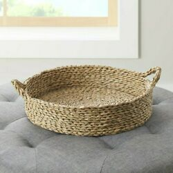 Better Homes Gardens 16'' Round Natural Colored Water Hyacinth Woven Tray Basket