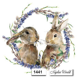 Kyпить (1441) TWO Individual Paper LUNCHEON Decoupage Napkins  EASTER BUNNY PAIR WREATH на еВаy.соm