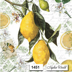 Kyпить (1451) TWO Individual Paper LUNCHEON Decoupage Napkins - LEMONS SCRIPT FRUIT  на еВаy.соm
