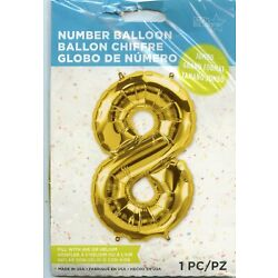 34'' Number 8 Eight Party Balloon Gold Foil Fills with air or helium