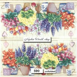 (590) TWO Individual Paper LUNCHEON Decoupage Napkins - POTS of FLOWERS SPRIING