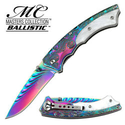 Master Collection Western Style Rainbow Pearl Handle Assisted Knife