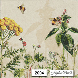 (2004) TWO Individual Paper LUNCHEON Decoupage Napkins - WILD FLOWERS BEES