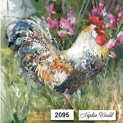 (2095) TWO Individual Paper LUNCHEON Decoupage Napkins - CHICKEN ROOSTER ARTSY