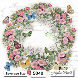 (5040) TWO Individual Paper BEVERAGE / COCKTAIL Decoupage Napkins FLORAL WREATH