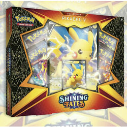 Kyпить NEW POKEMON TCG: SHINING FATES PIKACHU V BOX | 4 Booster Packs SEALED  на еВаy.соm