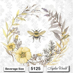 (5125) TWO Individual Paper BEVERAGE / COCKTAIL Decoupage Napkins - WREATH BEE