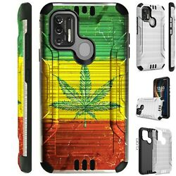 SILVER GUARD For Coolpad SUVA CP3669 Hybrid Phone Case Cover WEED NATION FLAG