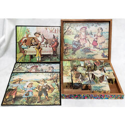 Kyпить ANTIQUE LITHO WOOD WOODEN TOY PICTURE BLOCKS IN STORY BOOK BOX W/ PRINTS на еВаy.соm
