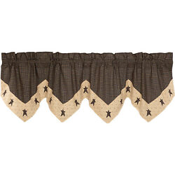 New Primitive Country TAN BLACK BLACK STAR VALANCE Topper Curtains 60''