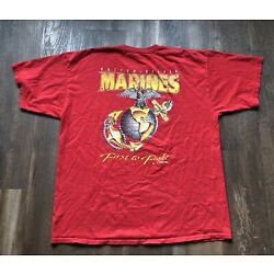 VTG MARINES FIRST TO FIGHT GRAPHIC RED T-SHIRT XL 7.62 DESIGNS USA
