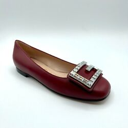 Gucci Madelyn Women's Dark Red Leather Crystal G Logo Ballet Flats 551434 6438