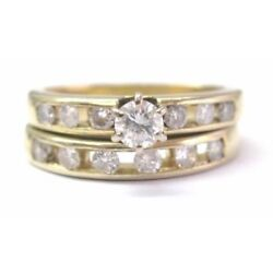 Kyпить Natural Round Diamond Solitaire Channel Set Accents Yellow Gold Engagement Ring на еВаy.соm