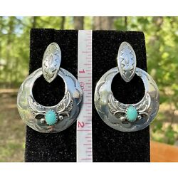 Kyпить D. COOKE - NATIVE AMERICAN INDIAN NAVAJO STERLING SILVER TURQUOISE EARRINGS на еВаy.соm