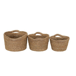 Nesting Wicker Baskets w/ Handles [Set of 3] Natural Cattail Reeds Home Office