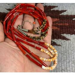 tri-strands coral/spiny oyster shell necklace//22'' (w174e-w2)