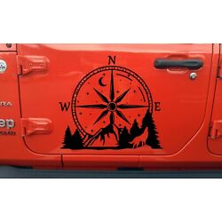 Compass Howling Wolf Mountain Vinyl Decal V1 - Moon Stars Forest Scene Graphics