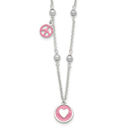 Silver FW Cultured Pearl and Enamel Heart and Peace Sign 14in Neck QG3529