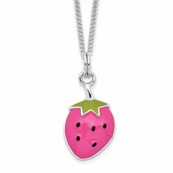 Sterling Silver Rhodium-plated Enamel Strawberry 15.75in Necklace QG3531