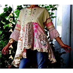 Norn~ Upcycled Tunic Top AuraGaia Fits S-L Pink & Yellow