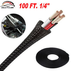 100 FT. 1/4'' Black Expandable Wire Cable Sleeving Sheathing Braided Loom Tubing