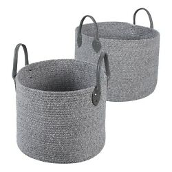 New Mainstays Large and Small Round Cotton Rope Floor Bins Set of 2 Double Sided