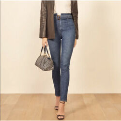 NWT $118 Size 26 Reformation Kayo High Waisted Skinny Belted Jeans Newport Wash