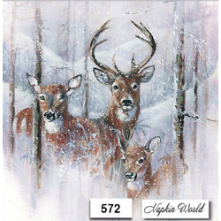 (572) TWO Individual Paper LUNCHEON Decoupage Napkins - DEER STAG BUCK SNOW
