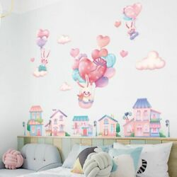 Pink Bunny Balloon Town Wall Stickers Kids Room Nursery Girls Feather Vinyl Wall