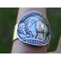 Signet ring authentic Buffalo Indian Nickel coin sterling silver for Bison lover