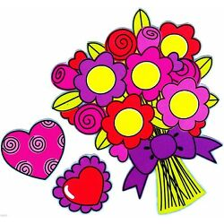 hearts flower valentine sticker wall safe cut out set 4.5 to 7.5 inch
