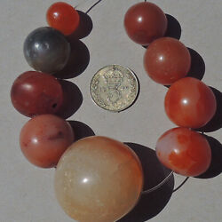 9 old bohemian agate carnelian stone round beads african trade #4940