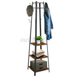 3 in 1Coat Rack Stand Entryway Hall Tree with Storage Shelves Wood Furniture