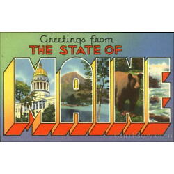 Greetings From The State Of Maine Tichnor Large Letter Linen Postcard Vintage