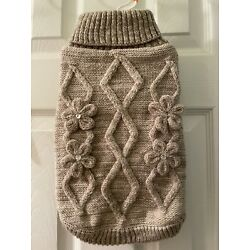 Top Paw U PIC SIZE Knit Dog Sweater Cable Grey With Flowers NEW NWT XL L M