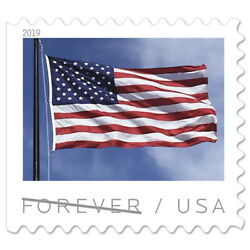 2019 US Coil of 100 Forever Postage American Flag Sealed 1 Roll