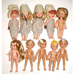 Kelly Tommy Nude Dolls 4 1/2 Inch Lot Of 10 dolls, Clothes New