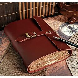 Deckle Edge Vintage Paper Leather Bound Journal - Book of Shadows Journal - L...