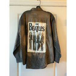 Beatles Flannel Upcycled Button Front Shirt / Color - Gray  / sz Large