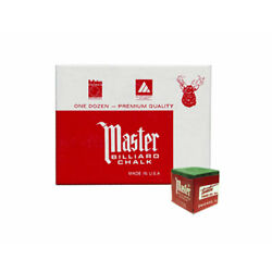 Master Billiard/Pool Cue Chalk - Spruce Green - 1 Pack/12 Pieces