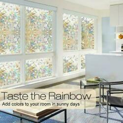 3D Rainbow Window-Film, Stained Glass Static Cling Sticker Frosted,Home Privacy