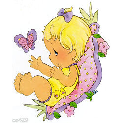 girl Precious moments wall safe sticker butterfly set cut out border 6.5 inch
