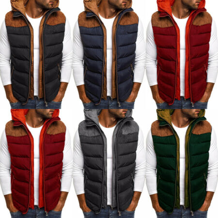 img-Mens Body Warmer Gilet Jacket Zip Up Hooded Padded Quilted Vest Coat Overcoat
