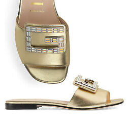 GUCCI SHOES MADELYN CRYSTAL G BUCKLE GOLD LEATHER FLATS SLIDE $790 39 9 US