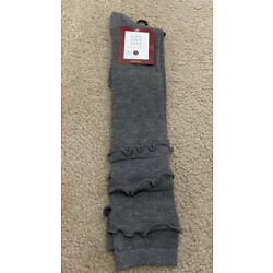 Love your Feet Knee High Boot Socks - Grey, One Size, Frilly Poly/Spandex