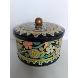 Vintage Daher Blue Multicolor Floral Round Tin Canister With Lid 3''